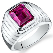 Mens 6 cts Octagon Cut Ruby Sterling Silver Ring Sizes 8 To 13