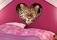Personalized Leopard Face Heart Vinyl Wall Decal Sticker Text