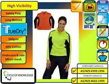 TrueDry Safety Hi Vis Long Sleeve Ladies Polo Shirt; 60% Cotton; SIzes 8 to 18