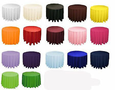 20 Round 132 Inch Tablecloths 100% Polyester 25 Colors Wholesale Table Top Event