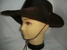 Quality Brown  Australian  Worn Leather Look Bush Hat with  chin cord fast post