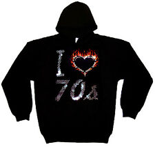 I LOVE SEVENTIES 70S HEAVYWEIGHT RHINESTUD  HOODY  HOODIES (any size)