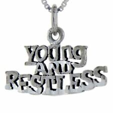"""Sterling Silver Young And Restless Talking Pendant,Charm,18"""" Box Chain  #pa954"""