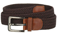 "New Men's Braided Stretch Brown Belt Leather Trim Silvertone Buckle 1-3/8"" Wide"