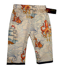 New ORGANIC Sailor Jerry Pirate Ship Koi Rockabilly baby boy Kid todder pants
