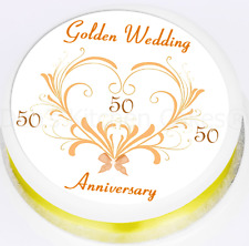 50th Wedding Anniversary Cake Topper Golden Wedding Round Square - Icing / Wafer