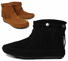 NEW Women's Fringe Moccasin Tribal Western Flat Heel Ankle Boots BLACK TAN