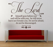 Deuteronomy 31 v 8 - Bible Quote - Christian Vinyl Wall Art Stickers, Bedroom