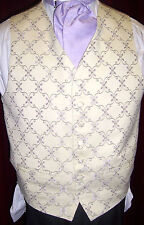 CREAM WITH LILAC FLOWER WAISTCOATS, MANY SIZES, GREAT FOR WEDDINGS, FORMAL