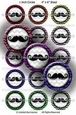 Pre-Cut Bottle Cap Images - Mustache Mania 1 Inch Circles