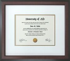Walnut Wood Frame with Off-white and gold mats for Diploma Certificate Document