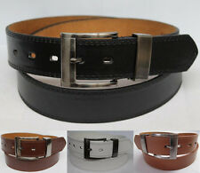 New Mens Casual Dress Leather Belt  w Silver Color Buckle Double Stitched Edge