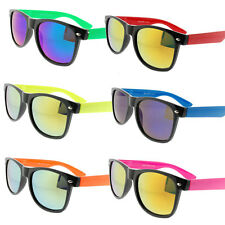 Wayfarer Sunglasses Mirrored Lens Black and Colored Frame Neon Mens Womens
