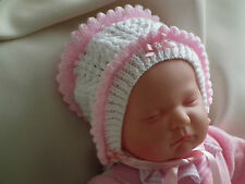 HAND KNITTED BABY HATS, BEANIE,SUN,BONNET,SOFT,WOOL PINK + WHITE, SEQUINS,BOWS.