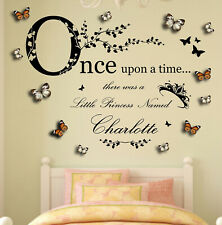 Personalised Name, Once Upon a Time Princess - 3D Butterflies, Wall Art Sticker