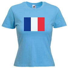 France French Flag Ladies Lady Fit T Shirt 13 Colours Size 6 - 16