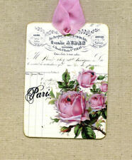 Hang Tags  FRENCH PARIS ROSE LEDGER TAGS or MAGNET #295  Gift Tags