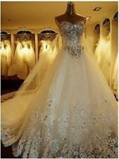 Luxurois White Ivory  Applique Ball Bridal Gowns Long Train Wedding Dresses 2013