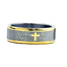8mm Two Tones Titanium Christian Cross Bible Scroll Etch Men's Wedding Band