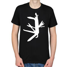 SWISS ARMY KNIFE SURVIVAL WEAPON TOOL SCOUTS ADVENTURE OUTDOORS MENS T-SHIRT TEE