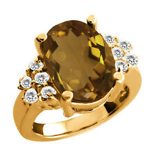 4.70 Ct Oval Whiskey Quartz White Topaz Gold Plated 925 Silver Ring