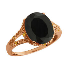 2.57 Ct Oval Black Onyx and Yellow Simulated Citrine Gold Plated 925 Silver Ring