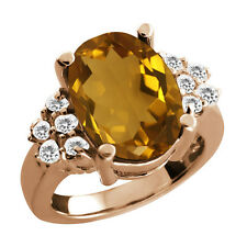 4.70 Ct Oval Champagne Quartz White Topaz Rose Gold Plated 925 Silver Ring