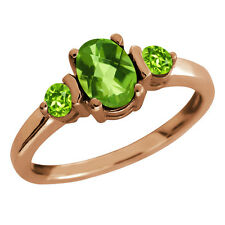 1.24 Ct Checkerboard Peridot Gold Plated 925 Silver Ring