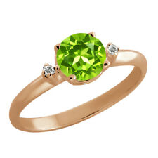 0.92 Ct Round Peridot White Topaz Rose Gold Plated 925 Silver Ring