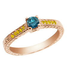 0.35 Ct Round Blue Diamond Yellow Sapphire 925 Rose Gold Plated Silver Ring