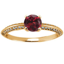 1.18 Ct Round Red Hydro Garnet 925 Yellow Gold Plated Silver Ring