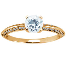 1.18 Ct Round Sky Blue Topaz 925 Yellow Gold Plated Silver Ring