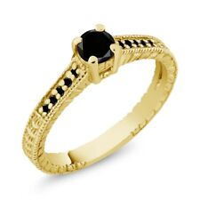 0.34 Ct Round Black AAA Diamond 925 Yellow Gold Plated Silver Engagement Ring
