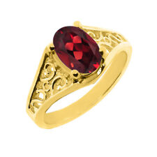2.20 CT 9x7 Oval Cut Red Garnet Yellow Gold Ring