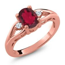 1.68 Ct Oval Ruby Mystic Topaz and Topaz Gold Plated 925 Silver Ring