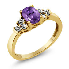 0.65 Ct Oval Purple Amethyst White Diamond 925 Yellow Gold Plated Silver Ring