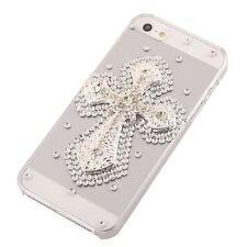 Greenkiwiis 3D Crystal Silver Cross Case For iphone 4 4s 5 with Screen Protector