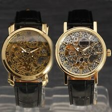 Luxury Unique Skeleton Men Business Dress Auto Mechanical Wrist Watch Leather-91