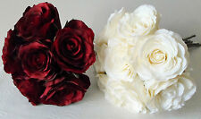 ROSE HAND TIED BOUQUET  - CREAM OR RED - ARTIFICIAL SILK FLOWERS/WEDDING/BRIDAL
