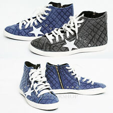 Mens Fashion Casual Star Ankle Sneakers High Top Cotton Trainers, GENTLERSHOP