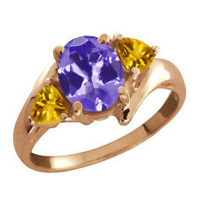 1.56 Ct Oval Tanzanite and Citrine Gold Plated 925 Silver Ring