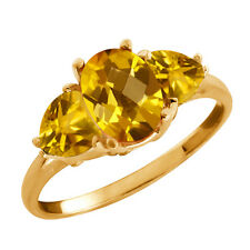 2.07 Ct Checkerboard Citrine Gold Plated 925 Silver Ring