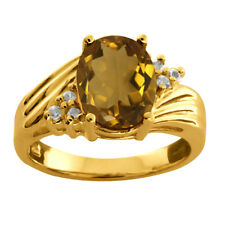 1.72 Ct Oval Whiskey Quartz White Topaz 925 Yellow Gold Plated Silver Ring
