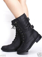 Lace Up Women's Black Faux Leather Combat Military Motorcycle Boot T1010A