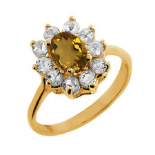 1.10 Ct Oval Whiskey Quartz White Topaz Gold Plated 925 Silver Ring