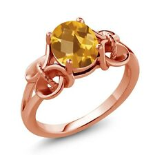 1.60 Ct Checkerboard Citrine Rose Gold Plated 925 Silver Ring