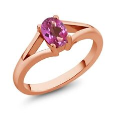 0.95 Ct Oval Pink Mystic Topaz Rose Gold Plated Silver Ring