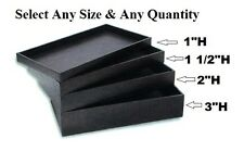 """LOT OF TRAYS 1""""H~1 1/2""""H~2""""H DEEP DISPLAY TRAYS PLASTIC JEWELRY SHOWCASE TRAYS"""