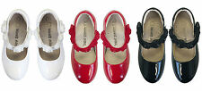 NEW Flower Girls Shoes Patent Leather Wedding Shoes approx3-10Yr RED-WHITE-BLACK