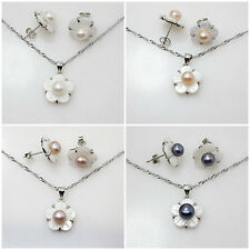 natural pearl & white shell flower earring pendant chain Jewelry Sets Fashion